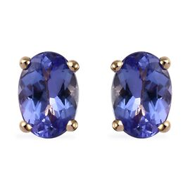 9K Yellow Gold AA Tanzanite (Ovl) Stud Earrings (with Push Back) 1.25 Ct.