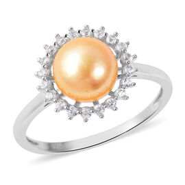 Freshwater Golden Pearl (Rnd), Natural White Cambodian Zircon Ring in Rhodium Overlay Sterling Silve