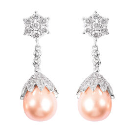 VINTAGE BOUTIQUE COLLECTION - Peach Shell Pearl and Simulated Diamond Dangle Earrings in Silver Tone