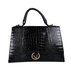 19V69 ITALIA by Alessandro Versace Crocodile Pattern Satchel Bag with Detachable Stap and Metallic Clasp Closure (Size 35x23.5x13cm) - Black