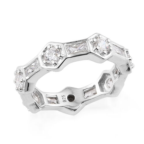 J Francis - Platinum Overlay Sterling Silver (Bgt and Rnd) Band Ring Made With SWAROVSKI ZIRCONIA