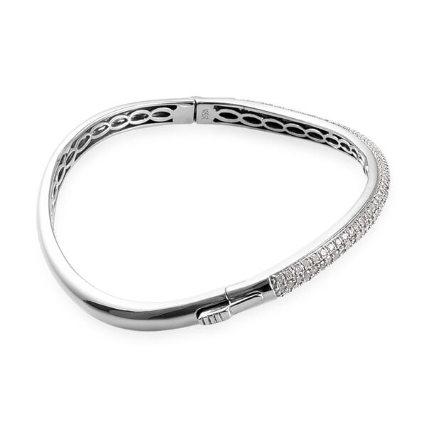 GP - Diamond and Blue Sapphire Wave Design Bangle (Size 7.5) in Platinum Overlay Sterling Silver 2.02 Ct, Silver wt 16.20 Gms
