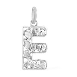 Artisan Crafted Polki Diamond Initial E Pendant in Platinum Overlay Sterling Silver 0.50 Ct.