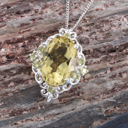 Natural Green Gold Quartz (Ovl), Hebei Peridot Pendant with Chain in Platinum Overlay Sterling Silver 5.750 Ct.