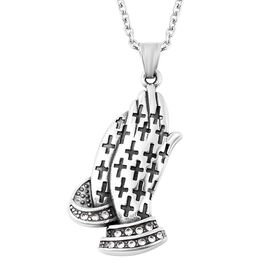 White Austrian Crystal Engraved Praying Hands Pendant with Chain in Stainless Steel