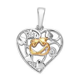 Platinum and Yellow Gold Overlay Sterling Silver Heart Pendant, Silver wt 3.92 Gms