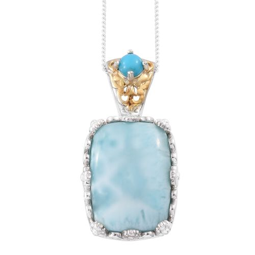 Extremely Rare Larimar (Cush), Arizona Sleeping Beauty Turquoise Pendant With Chain in Platinum and