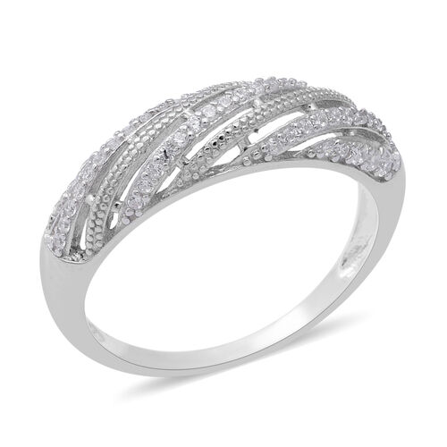ELANZA - AAA Set of 2 - Simulated Diamond Rings in Rhodium Overlay Sterling Silver