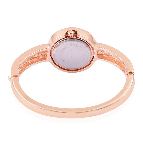 Designer Inspired STRADA Japanese Movement Bangle Watch (Size 7-8) in Rose Gold Tone with White Austrian Crystal and Simulated White Diamond