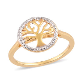 Diamond Tree of Life Ring in 14K Gold Overlay Sterling Silver