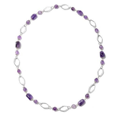Amethyst (Rnd) Beads Necklace (Size 30) in Black Plated 183.000 Ct