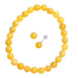 2 Piece Set -  Honey Jade Stretchable Bracelet (Size 7.5) and Stud Earrings (with Push Back) in Ster