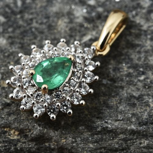 9K Yellow Gold AAA Premium Santa Terezinha Emerald (Pear), Natural Cambodian Zircon Pendant 1.250 Ct.