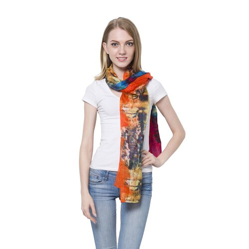 100% Mulberry Silk Blue, Orange and Multi Colour Printed Scarf (Size 180x110 Cm)