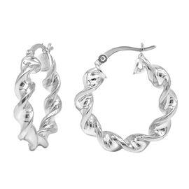 Swirled Hoop Earrings in Sterling Silver