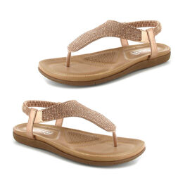 OLLY Samba Toe Post Comfort Sandal in Rose Gold