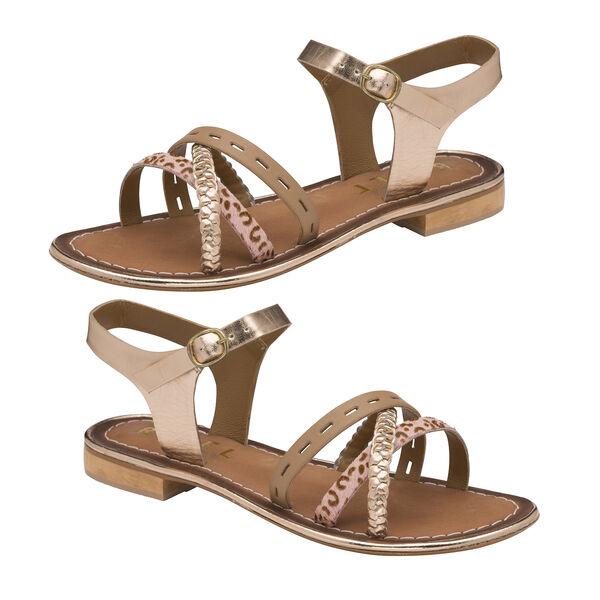 Ravel Cudal Leather Flat Sandals in Birch