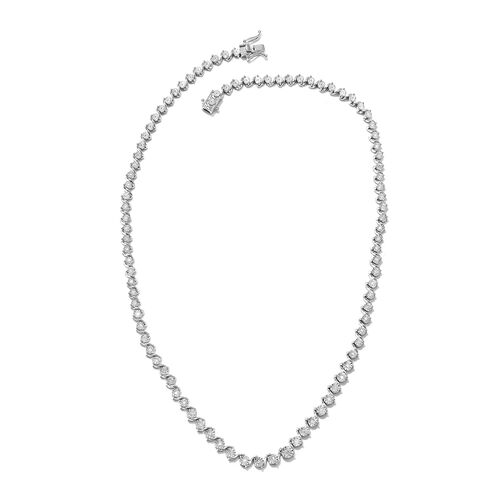 GP 0.77 Ct Diamond and Blue Sapphire Tennis Necklace in Platinum Plated Silver