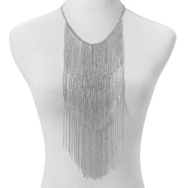 Silver Plated Waterfall Inspired BIB Necklace (Size 18 with 5 inch Extender)