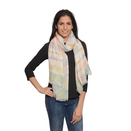 50% Cotton Blended Stripe Jacquard Weave Scarf (Size 180x70 Cm)