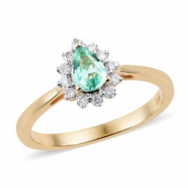 14K Yellow Gold AA Boyaca Colombian Emerald (Pear), Diamond Ring 0.500 Ct.