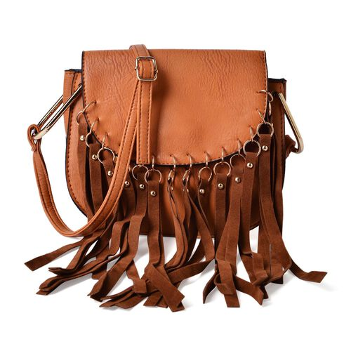 Chocolate Colour Crossbody Bag with Tassels and Adjustable Shoulder Strap (Size 20x17x8 Cm)