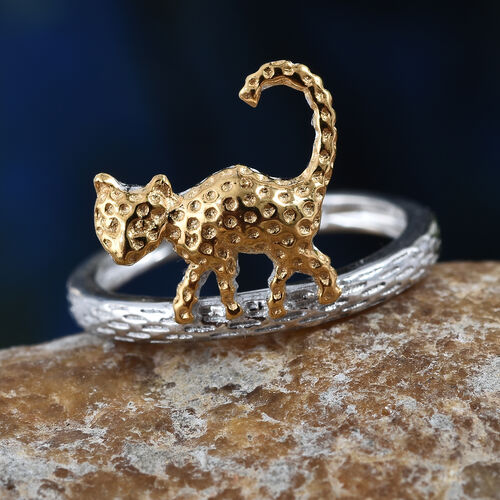 Platinum and Gold Overlay Sterling Silver Cat Band Ring