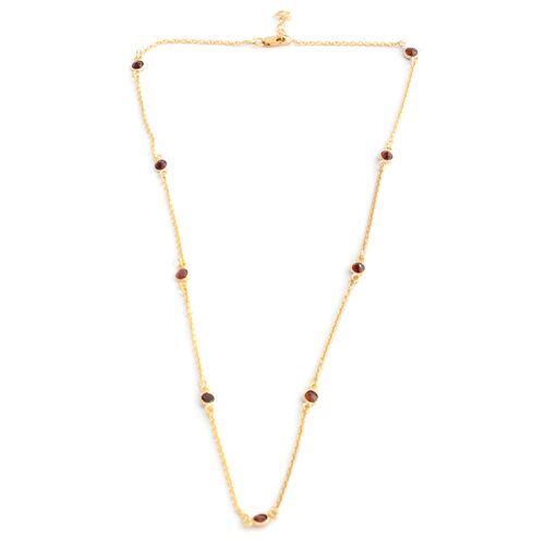 Close Out Deal- Garnet Station Necklace (Size 18 with 1 inch Extender) in 14K Gold Overlay Sterling Silver 2.700 Ct.