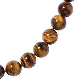 20 Inch Yellow Tiger Eye Beaded Necklace in Rhodium Plated Sterling Silver 5 Grams