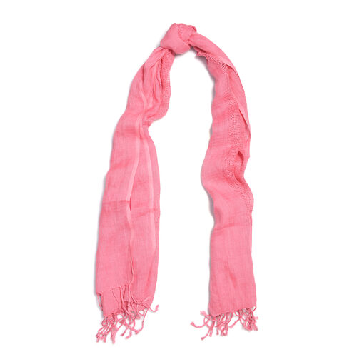 Rose Colour Linen Handloom Woven Natural Dye Scarf (Size 180x70 Cm)