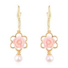 Pink Mother of Pearl (2.75 Ct),Fresh Water Pearl Sterling Silver Earring  5.250  Ct.