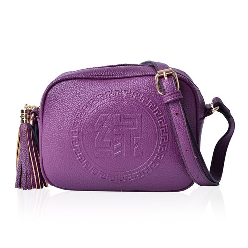 YUAN Collection Purple Colour Crossbody Bag with Tassels and Adjustable Shoulder Strap (Size 21x17x9