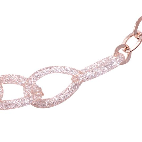 White Austrian Crystal (Rnd) Oval Link Necklace (Size 18 with 3 inch Extender) in Rose Gold Tone