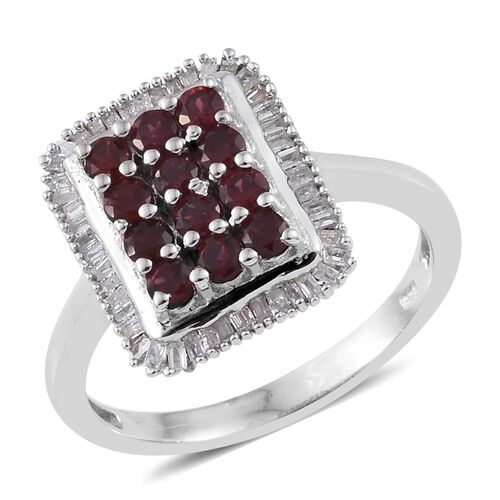 1.08 Ct Arizona Anthill Garnet and Diamond Cluster Ring in Platinum Plated Silver