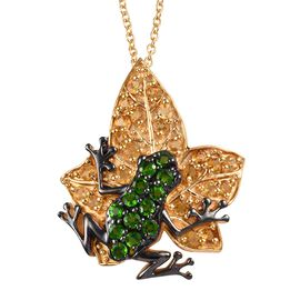 GP Citrine (Rnd), Russian Diopside and Blue Sapphire Frog on Maple Leaf Pendant With Chain (Size 20)