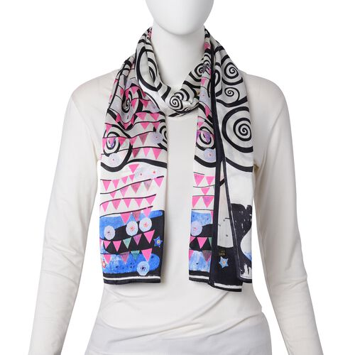 100% Mulberry Silk Black, Pink and Multi Colour Whirlpool and Triangle Pattern Scarf (Size 160x45 Cm) (Weight 40 Gms)