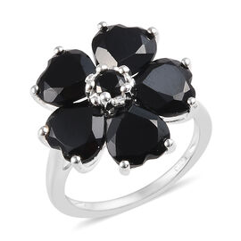 8.50 Ct Boi Ploi Black Spinel Floral Ring in Silver
