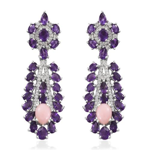 Art Deco - Peruvian Pink Opal, Amethyst and Natural Zircon Dangle Earring in Platinum Plated Sterlin