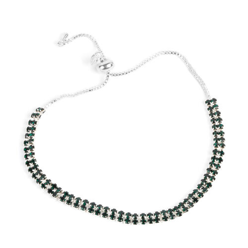 Set of 4 - Green and White Austrian Crystal Friendship Bracelet (Size 6 to 10 Inch)