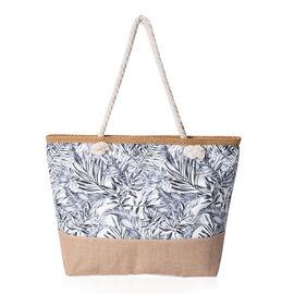 Jute Leaf Pattern Tote Bag with Zipper Closure (Size 50x35x12 cm) - Khaki, White and Grey