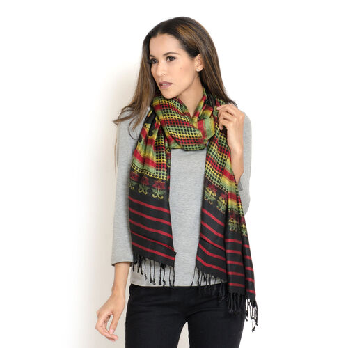 Multi Colour Butterfly Pattern Black, Red and Yellow Colour Jacquard Scarf with Fringes (Size 200x70