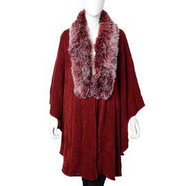 Half Moon Faux Fur Collar Cape Size 124x76 Cm Wine Red Colour