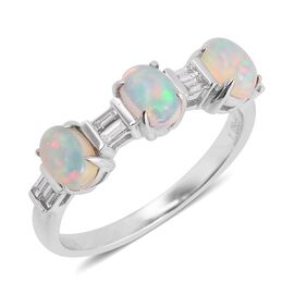 ILIANA 1.25 Ct AAA Ethiopian Welo Opal and Diamond SI GH Ring in 18K White Gold