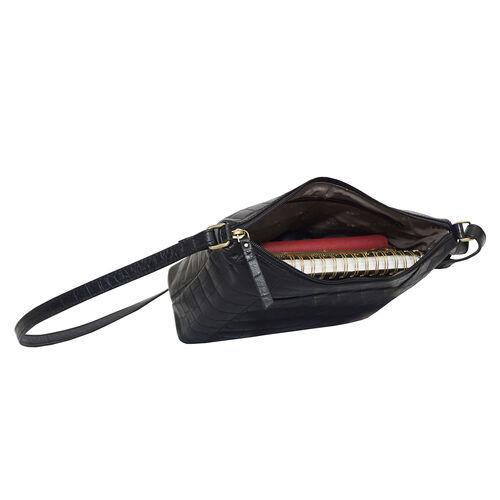 DOD - Assots London CAROL Croc Embossed Leather Crossbody Bag with Adjustable Shoulder Strap (Size 29x21x9cm) - Black