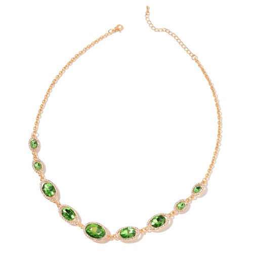 Simulated Emerald and White Austrian Crystal Necklace (Size 20 with 3 inch Extender) in Yellow Gold Tone
