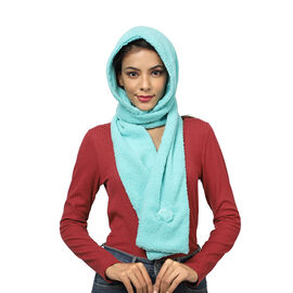 Winter Warm Soft Sherpa Hooded Scarf with Magnetic Button (Size Hood 27x30 Cm; Scarf 15x90 Cm) - Aqu