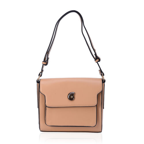 Eve Beige Colour Crossbody Bag with Ammonite (Size 24x20x8 Cm)