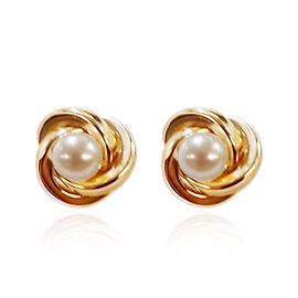 Freshwater Pearl Stud Solitaire Earrings in 9K Yellow Gold