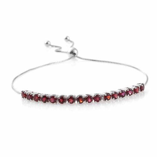 Arizona Anthill Garnet (Rnd) Adjustable Bracelet (Size 6.5 to 9) in Platinum Overlay Sterling Silver