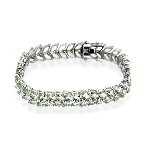 Green Amethyst (Mrq) Bracelet in Rhodium Plated Sterling Silver (Size 7.5) 30.000 Ct.